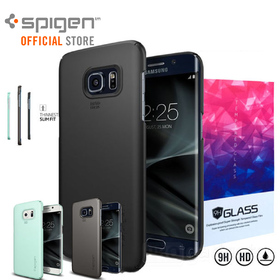 Bundle 9H Tempered Glass + Spigen Ultra THIN FIT SLIM Case for Samsung Galaxy S7 Edge