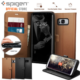 Galaxy S8 case, Genuine SPIGEN Stand Flip View Wallet S Cover for Samsung