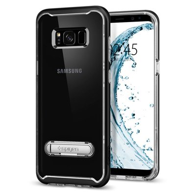 Galaxy S8 case, Genuine SPIGEN Crystal Hybrid Metal Kickstand Cover for Samsung [Colour: Black]