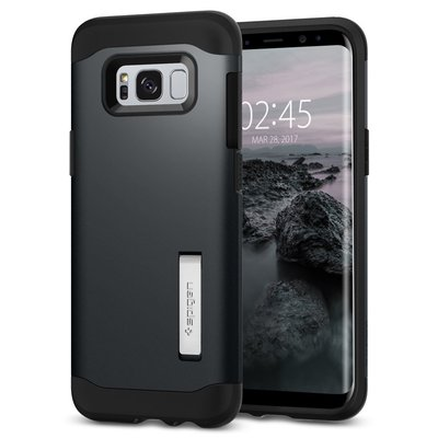 Galaxy S8 Plus Case, Genuine SPIGEN Slim Armor Heavy Duty Kick-stand Cover [Colour: Metal Slate]