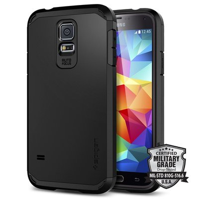 Genuine Spigen Heavy Duty Tough Armor Case Cover for Samsung Galaxy S5 Unpackaged [Smooth Black] -  SGP10761