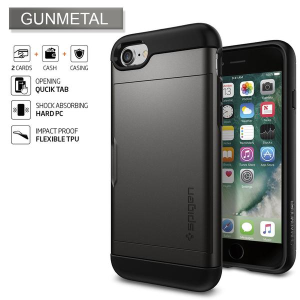 new products 933d0 ff7e9 Details about iPhone 8 Plus/8, 7 Plus/7 Case Genuine SPIGEN Slim Armor CS  Card Cover for Apple