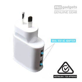 PRO gadgets Dual USB Wall AC Charger Adapter for Smartphone Universal iPhone / Galaxy