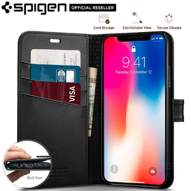 iPhone X Case, Genuine SPIGEN Stand Flip View Wallet S Cover for Apple