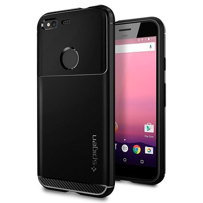 Google Pixel Case, Genuine SPIGEN Rugged Armor Ultra Slim Soft Cover for Google [Colour: Black] - F14CS20889