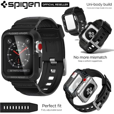 For Apple Watch Series 3/2/1 Case, Genuine SPIGEN Rugged Armor Pro Soft Cover + Strap Band for 42mm