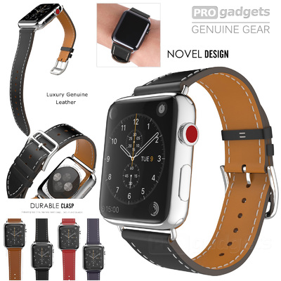Genuine Moko Luxury Leather Single Tour Band Strap for Apple Watch Series 4/3/2/1 (42mm/44mm)