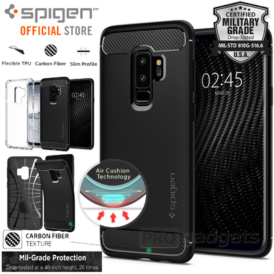 Galaxy S9 Plus Case, Genuine SPIGEN Rugged Armor Resilient Soft Cover Samsung