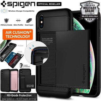 iPhone XS Case, Genuine SPIGEN Slim Armor CS Card Slider Hard Cover for Apple