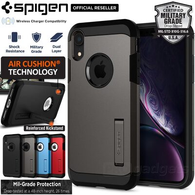 iPhone XR Case, Genuine SPIGEN Heavy Duty Tough Armor Kickstand Cover for Apple
