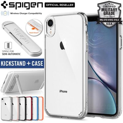 Bundle Spigen ULTRA HYBRID Case + U100 Kickstand for Apple iPhone XR