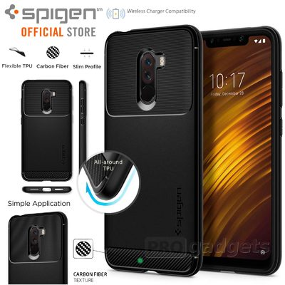 Pocophone F1 Case, Genuine SPIGEN Rugged Armor Resilient Soft Cover for Xiaomi
