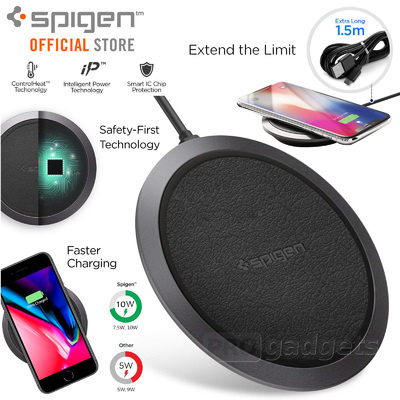 Fast Qi Wireless Charger Pad, Spigen SLIM F308W for iPhone 8/x/XS/XS Max/Pixel 3