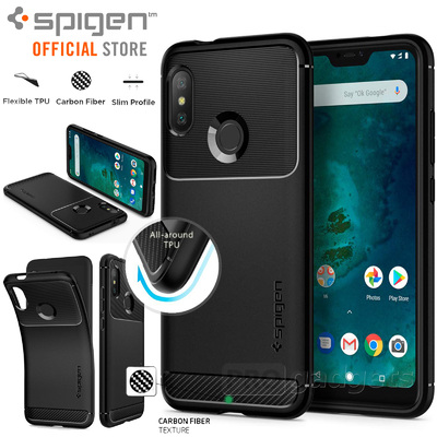 Mi A2 Lite Case, Genuine SPIGEN Rugged Armor Resilient Soft Cover for Xiaomi