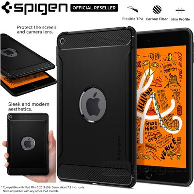 iPad mini 5 Case, Genuine SPIGEN Rugged Armor Slim Soft Cover for Apple