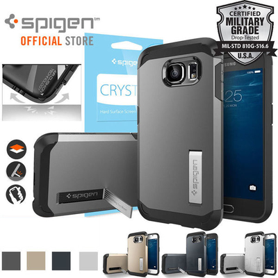 Bundle Genuine Spigen Tough Armor Case + Screen Protector for Samsung Galaxy S6 Unpackaged