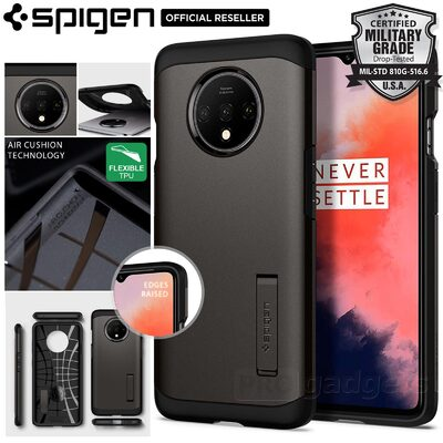OnePlus 7T Case, Genuine Spigen Tough Armor Heavy Duty Kickstand Hard Cover for OnePlus