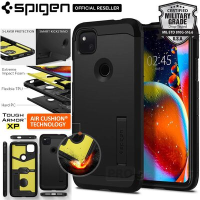 Genuine SPIGEN Tough Armor Heavy Duty Kickstand Hard Cover for Google Pixel 4a Case