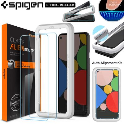 Genuine SPIGEN AlignMaster GLAS.tR Slim Tempered Glass for Google Pixel 5 5G Screen Protector 2 Pcs/Pack