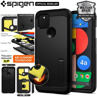 Genuine SPIGEN Tough Armor Heavy Duty Kickstand Hard Cover for Google Pixel 4a 5G Case