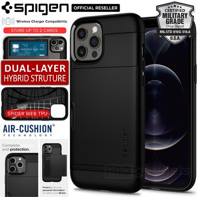 Genuine SPIGEN Slim Armor CS Card Slider Holder Cover for Apple iPhone 12 Pro Max (6.7-inch) Case