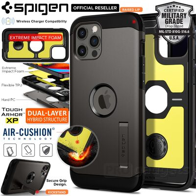 Genuine SPIGEN Tough Armor Impact Shock Proof Kickstand Hard Cover for Apple iPhone 12 Pro Max (6.7-inch) Case