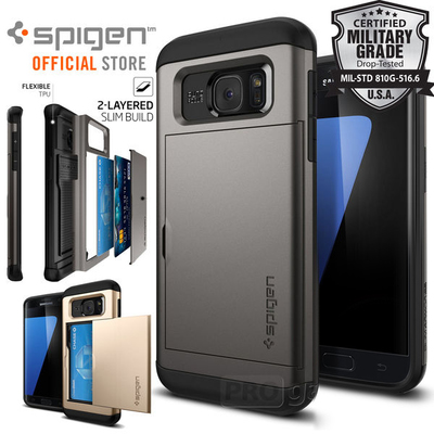 Galaxy S7 Case, Genuine SPIGEN Slim Armor CS Card Slider Holder Cover for Samsung