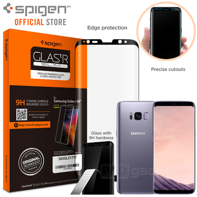 Samsung Galaxy S8 Screen Protector, Genuine SPIGEN Full Cover Tempered Glass