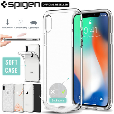 iPhone X Case, Genuine SPIGEN Liquid Crystal Exact Fit Slim Soft Cover for Apple