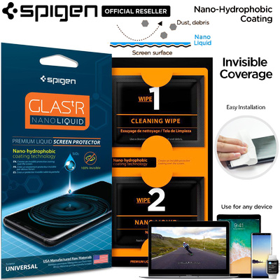 Genuine SPIGEN Screen Protector GLAS.tR Nano Liquid Invisible for iPhone/Galaxy